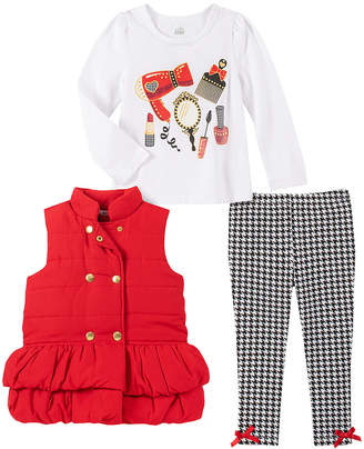 Kids Headquarters Girls' Outerwear Vests ASSORTED - Red Ruffle-Trim Double-Breasted Puffer Vest Set - Infant, Toddler & Girls