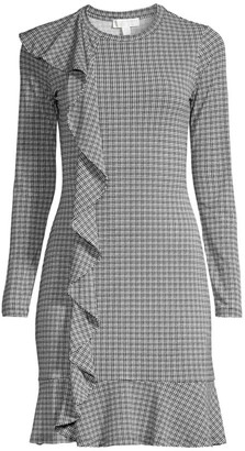 MICHAEL Michael Kors Ruffle Plaid Long-Sleeve Dress