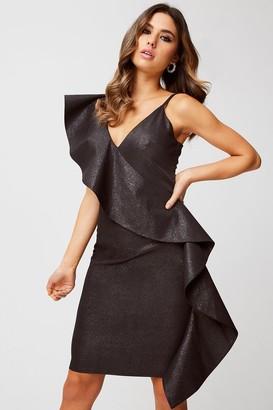 Little Mistress Loki Black Lurex Ruffle Bodycon Dress