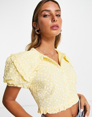 Lost Ink crop blouse with collar in ditsy floral - part of a set
