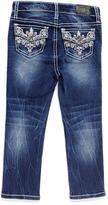 ZCO Medium Blue Distress Vine-Embroidered Straght-Leg Jeans - Toddler