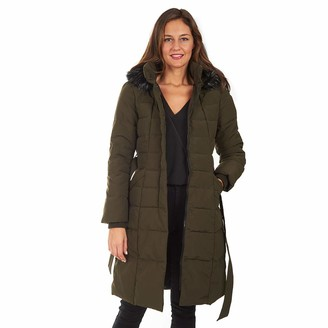 """Kensie Women's 44"""" Luxe Fur Hooded Quilted Non-Down Long Puffer"""