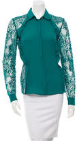 Elie Saab Lace-Trimmed Button-Up Top w/ Tags