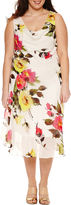 Robbie Bee Sleeveless Drape Neck Floral Sheath Dress-Plus