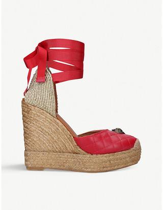 Kurt Geiger Karmen ankle-tie leather espadrille wedge sandals