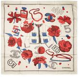 """Chanel Vintage White No. 5 Accessories Silk Scarf, 34"""" x 34"""""""