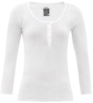 Etoile Isabel Marant Lamylic Ribbed Cotton-jersey Henley Top - White