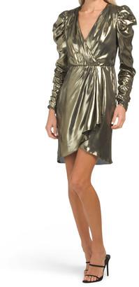Long Sleeve Puff Shoulder Metallic Dress