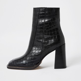 River Island Womens Black square toe leather ankle boots
