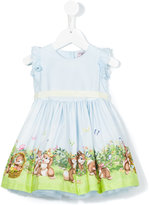 MonnaLisa Bunny print dress - kids - Cotton/Polyamide - 6 mth