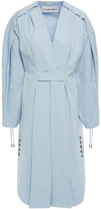 Carven Pleated Cotton-poplin Dress
