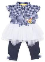 Little Lass Little Girl's Two-Piece Embroidered Floral Top and Leggings Set