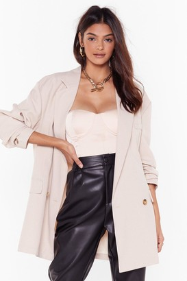 Nasty Gal Womens This Meeting's Oversized Double Breasted Blazer - Beige - 10