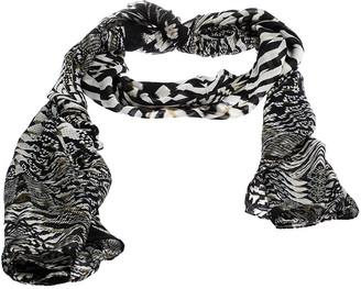 Roberto Cavalli Black & White Snakeskin Print Silk Scarf