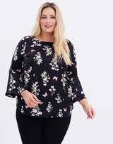 Butterfly Printed Flute Sleeve Soft Top