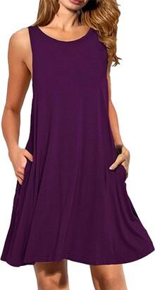 YMING Women's Dress Sleeveless T-Shirt Dress Round Neck Casual Summer Dress Bordeau S