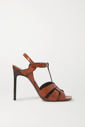 Saint Laurent Tribute Woven Leather Sandals - Tan