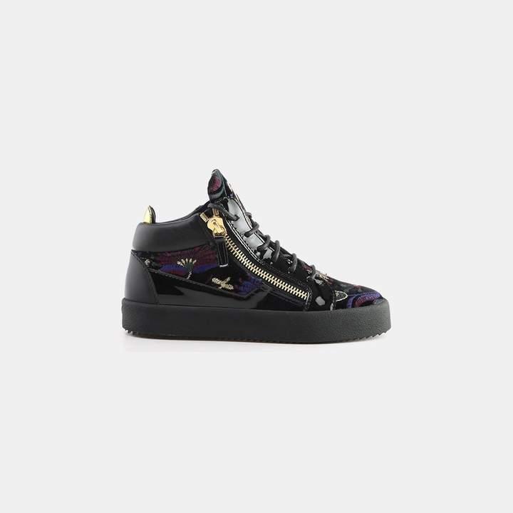 Giuseppe Zanotti Magdalena Dual Zipper Brocade Velvet Sneaker