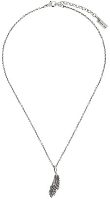 Saint Laurent Silver Palm Leaf Pendant Necklace