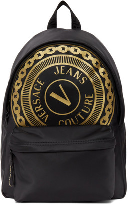 Versace Jeans Couture Black Barocco Big Logo Backpack