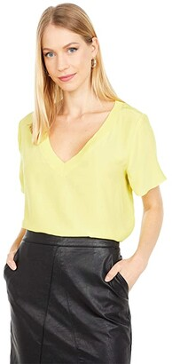 Milly Silk T-Shirt w/ Knit Trim (Limeade) Women's Clothing