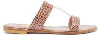 BEIGE Avec Moderation - Aruba Crocodile-effect Leather Sandals - Womens White