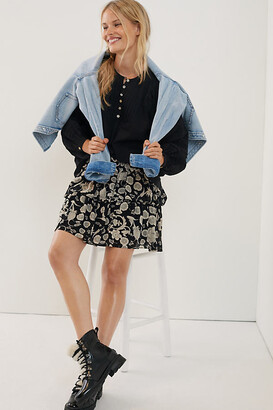 Anthropologie Myla Tiered Mini Skirt By in Black Size XS