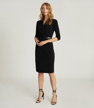Reiss Luisa - Knitted Wrap Dress in Black