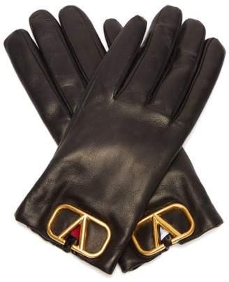 Valentino V-logo Plaque Leather Gloves - Womens - Black