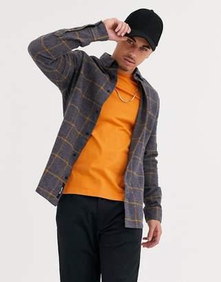 ONLY & SONS window pane check shirt in dark gray