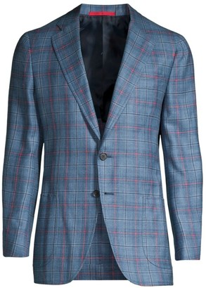 Isaia Plaid Wool, Cashmere, Silk & Linen Single-Breasted Jacket