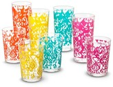 Mudhut Ikat Plastic Multi-Colored Tumblers Set of 8
