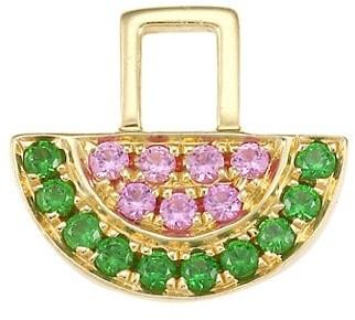 Robinson Pelham EarWish 14K Yellow Gold, Pink Sapphire & Tsavorite Watermelon Single Earring Charm