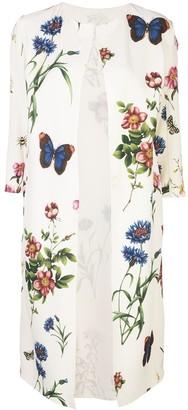 Oscar de la Renta Floral Print Coat