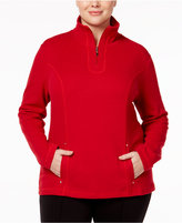 Karen Scott Plus Size Quarter-Zip Top, Only at Macy's
