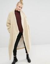Monki Oversized Faux Shearling Maxi Coat