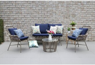 Ivy Bronx Sparks Outdoor 4 Piece Sofa Seating Group with Cushions Cushion Color: Blue, Frame Color: Natural