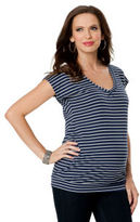 A Pea in the Pod Splendid Short Sleeve V-neck Banded Bottom Maternity T Shirt
