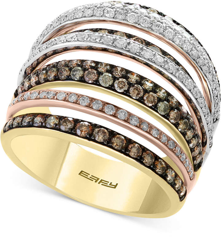 Effy Diamond Tri-Gold Ring (1-3/4 ct. t.w.) in 14k Gold, White Gold & Rose Gold