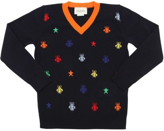Gucci Bees Intarsia Fine Wool Knit Sweater