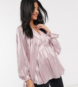 ASOS DESIGN Maternity v neck sheer top with volume sleeve in self stripe in mauve