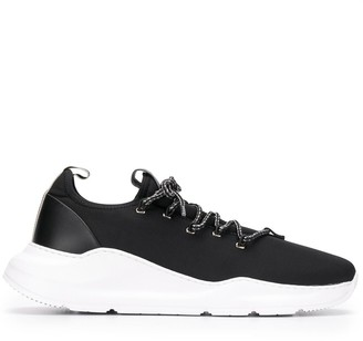 Canali Monochrome Lace-Up Sneakers