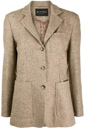 Etro herringbone patch pocket blazer