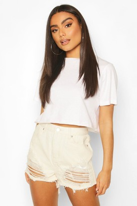 boohoo High Waisted Distressed Mom Short