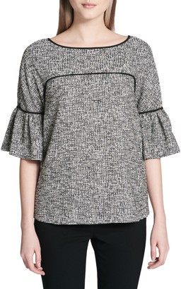 Calvin Klein Collection Bell-Sleeve Piped Tweed Top