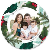 Minted Floral Scallop Holiday Ornament Cards