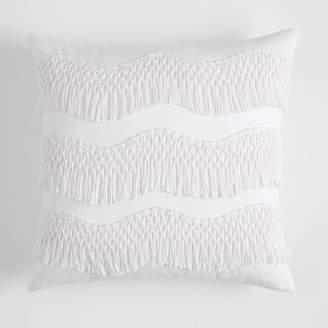 Pottery Barn Teen Zig Zag Fringe Pillow Cover, 18 x 18, Powdered Blush
