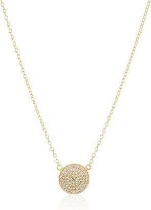 "Amazon Collection 1K Yellow Gold Diamond Round Disk Pendant Necklace 20"""