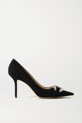 Jimmy Choo Saresa 85 Crystal-embellished Suede Pumps - Black