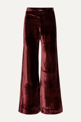 Deitas Venus Velvet Flared Pants - Burgundy
